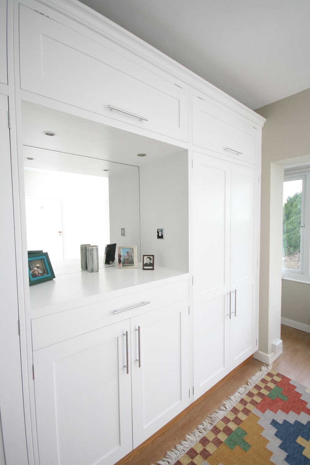 Rank Of Wall To Wall Wardrobes With Mirror And Tv Alcoves