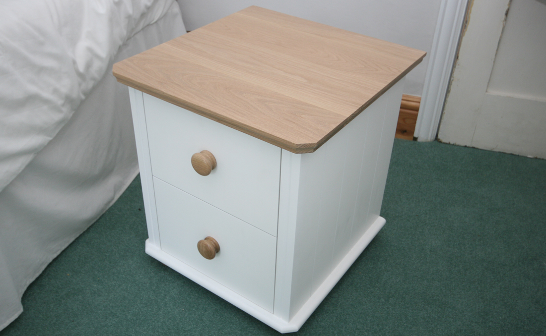 Bedside Cabinet With Dovetailed Drawers And Oak Top