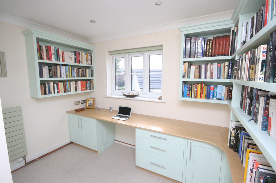painted office furniture. Back To Bespoke Hand Painted Home Office / Library With Oak Desk, Bookshelves, Cupboards Furniture I