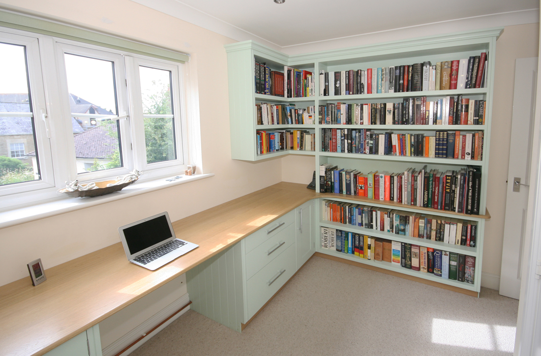 Wonderful Back To Bespoke Hand Painted Home Office / Library With Oak Desk,  Bookshelves, Cupboards