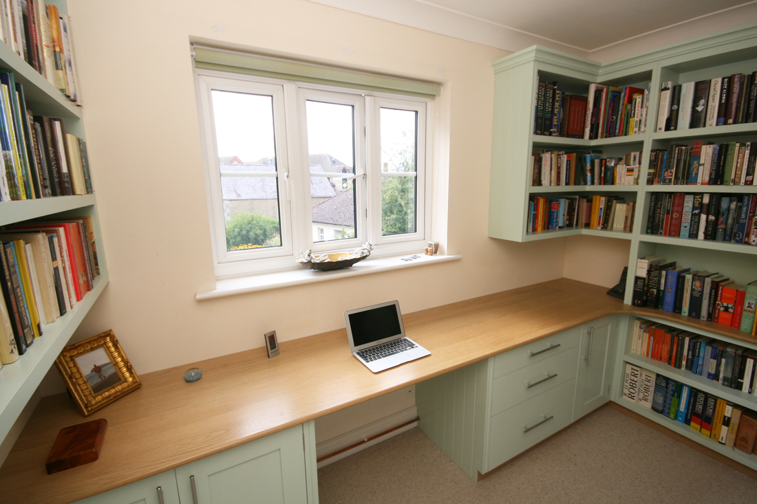Bespoke Hand Painted Home Office With Oak Desk Enlargement 3