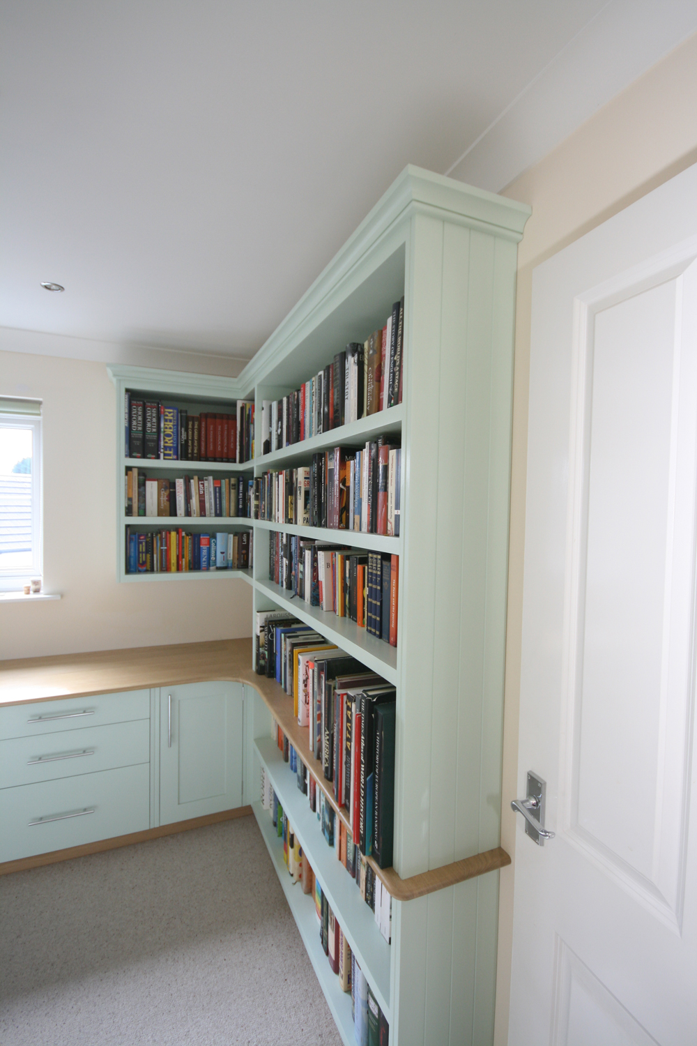 Bespoke Hand Painted Home Office With Oak Desk Enlargement 4