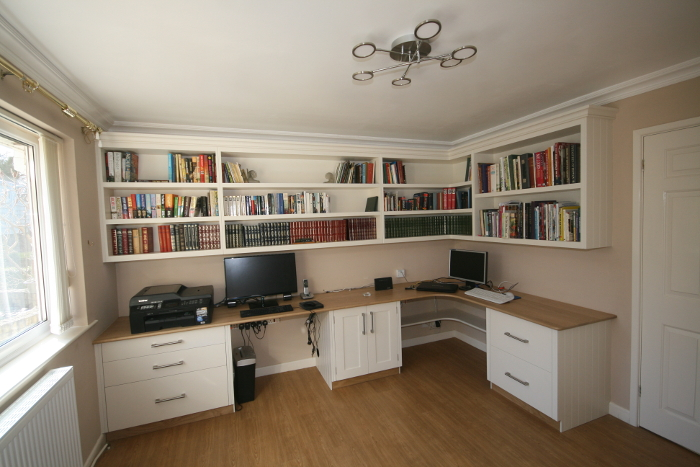 Bespoke Hand Painted Office Library With Curved L Shaped Oak